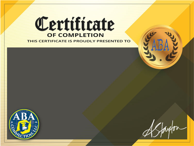 ABA Connection Certificate of Completion